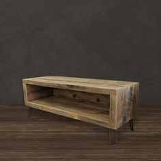 Rescued ~ Reborn This hand-crafted and highly-functional media console features an open design matched with a modern & refined feel. This custom media console displays stunning composition with the na
