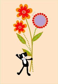 art print sweet black kitty with flowers 8 x 10 print 11 x 14 mat