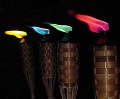 Add a touch of fun to your torches with vibrant, brightly colored flames. Tiki Colored Flame torch fuel comes in a convenient no mess, pre-filled Ready 2 Light canister with a flame guard. Simply place the canister into your Tiki torch, light, and enjoy. Tiki Party, Luau Party, Tiki Torches, Cool Inventions, Wiccan, Outdoor Lighting, Backyard, Patio, Projects To Try