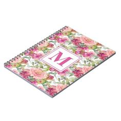 Pink Watercolor Floral Sage Green Leaves Monogram Notebook   first day if school, school haul, percabeth headcanon school #backtoschoolnails #backtoschoolmode #backtoschooltheme, back to school, aesthetic wallpaper, y2k fashion Back To School Highschool, Back To School Nails, School School, School Classroom, Monogram Notebook, Custom Notebooks, Pink Watercolor, Monogram Initials, Floral Flowers