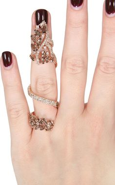 Elise Dray Pink Gold Brown Diamonds and Smoky Quartz Articulated Jaïpur Ring in Pink - Lyst