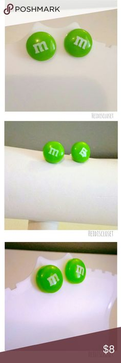 Green M&Ms Earrings. - Handmade. - Green Candy M&Ms Earrings. - Ear studs. - Adorable to wear on your ears. - hypoallergenic backing for sensitive ears.  - Bundle and save. Handmade Jewelry Earrings