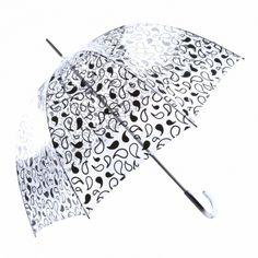 Paraguas transparente largo estampado lágrimas