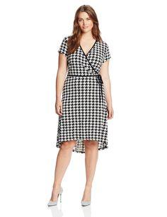 Anne Klein Women's Plus-Size Houndstooth Print Dress, Black / Camellia Multi, 0X $46