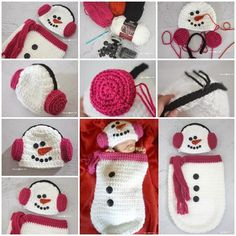 Crochet Snowman Cocoon Pattern Hat And Earmuffs | The WHOot