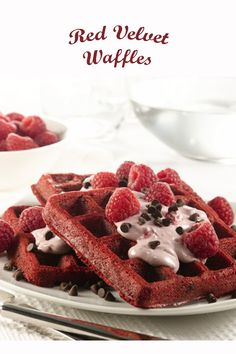Possibly the best red velvet waffles recipe! A great recipe for breakfast or part of any dessert. Waffle Recipes, Brunch Recipes, Breakfast Recipes, Dessert Recipes, Desserts, Red Velvet Waffles, Great Recipes, Food And Drink, Baking Ideas