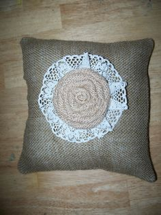 """Wedding Burlap Ring Bearer Pillow  (9"""" X 9"""") by SewUniqueShop on Etsy"""