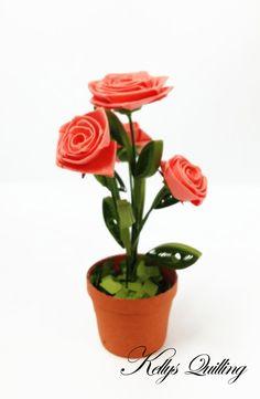 Papier Quilling Rose fleurs Pot - en rouge, rose de quilling, quilling pot, quilling, pot de fleur, fleur en papier, papier d'art, papier rose