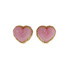 Chanel poured glass heart earrings season 28 | From a unique collection of vintage clip-on earrings at http://www.1stdibs.com/jewelry/earrings/clip-on-earrings/