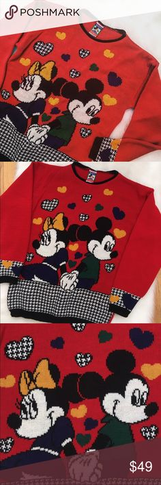 Minnie and Mickey Mouse Sweater Great vintage Minnie and Mickey Mouse sweater. The tag says XL but the sweater shrank in the wash. It would be a comfortable, loose fitting small or a form fitting medium. Perfect for Valentine's Day or a trip to the Disney parks. Sweaters Crew & Scoop Necks
