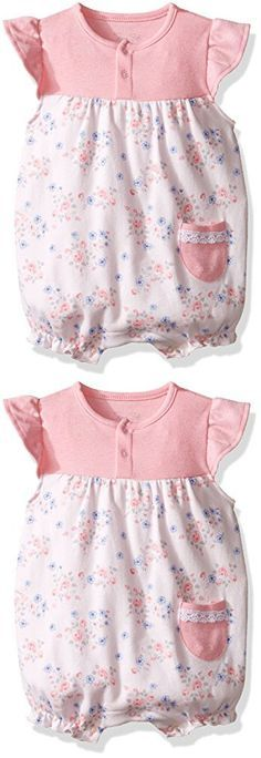 Rene Rofe Baby Girls' 1 Piece Snap Front Flutter Sleeve Romper, Pink Patchwork Garden, 0-3 Months