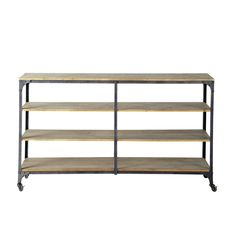 Consolle color antracite stile industriale a rotelle in metallo e legno L 173 cm Brooklyn