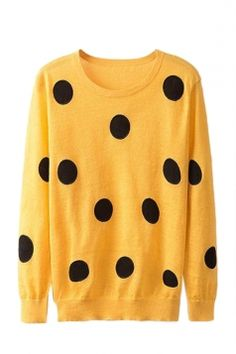 Yellow Ladies Cute Polka Dot Patterned Crew Neck Pullover Sweater