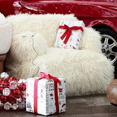 PB Teen Eco Lounger Faux Fur Media Chair, Furlicious ($299) ❤ Liked On
