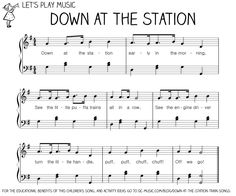 Song: Down At the Station written by Lee Ricks and Slim Gaillard. Also a book this song can be found on Karyn Henley's Down By the Station Playsongs CD. Connections: trains sounds can do counting games gross motor if you have the kids be the trains. Music Activities For Kids, Music For Toddlers, Preschool Music, Kids Songs, Space Activities, Toddler Music, Kindergarten Music, Toddler Fun, Kindergarten Activities