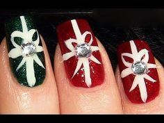 Gift wrap, ribbon nails. Adorable! @Fallon Nicole