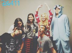 Piper Curda, Olivia Holt, Sarah Gilman, Austin North, and Peyton Clark on the set of I Didn't Do It... PJ Day