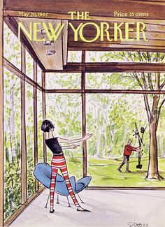The New Yorker Cover - May 1967 by Charles Saxon The New Yorker, New Yorker Covers, Philip Johnson Glass House, Glass House Design, Transformers Art, Black Women Art, Book Cover Art, Pulp Art, Sale Poster