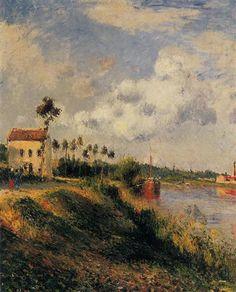 Le Chemin de Halage, Pontoise - Camille Pissarro