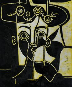 Pablo Picasso Paintings | Pablo Picasso - Femme au Chapeau Orne 1962 Reproduction Cubist Art ...
