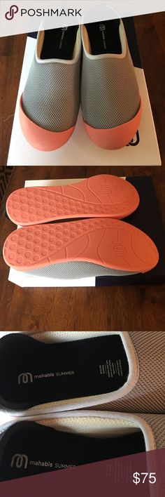 Mahabis summer slippers never worn .  Size 8x Mahabis slippers never worn.  They are gray with orange soles.  The original box is included.  Size 8. mahabis Shoes Slippers