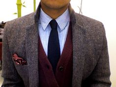 Light Brown Tweed Jacket, Blue Shirt with Navy Knitted Tie, Mauve Cardigan & pocket Sqaure