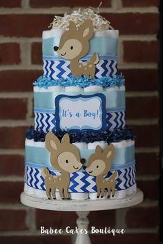 3 Tier Woodland Deer Boys Diaper Cake by BabeeCakesBoutique