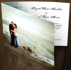 DIY wedding invite with a photo of the bride and groom.