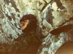 "British soldier with ""battle fatigue"" rest in a rock.   Falklands War, 1982."