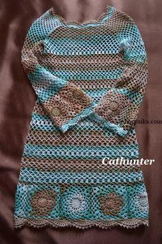 Платье Батик крючком. Ажурная модель платья для лета.