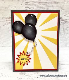 Stampin' Up! Holly Jolly Greetings Mickey Mouse Punch Art Balloon Card (Stamp 4 Fun with Selene Kempton ~ Stampin' Up! Minnie Mouse Balloons, Up Balloons, Mickey Mouse, Scrapbook Paper Crafts, Scrapbook Cards, Scrapbooking, Homemade Greeting Cards, Homemade Cards, Kids Cards