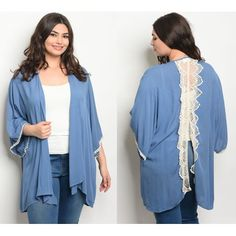 a1c57ce282fc2 Buy JED FASHION Women s Plus Size Crocheted Cardigan Tunic Top at Walmart.