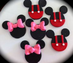 Fondant toppers for Minnie & Mickey Mouse Party