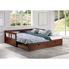 The Melody Day Bed w/ Storage maximizes the area in a small room. It is a classic twin with under bed storage. Pull the under bed storage system out and it converts to a Queen Size Bed. Great for a guest room! Twin Daybed With Trundle, Trundle Mattress, Twin Trundle Bed, Mattresses, Queen Daybed, Twin Beds, Twin Twin, Home Renovation, Camper Renovation