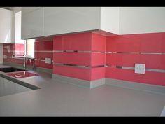 """STRAWBERRY PINK & MIRROR STRIPES KITCHEN SPLASHBACK"". Coloured kitchen glass splashback with mirror installation by Creoglass (London, UK). View more glass kitchen splashbacks, non-scratch glass worktop ideas and mirror ideas on www.creoglass.co.uk #homeimprovement"