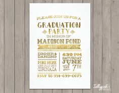 Gold graduation party invitation graduation announcement 2015 tribal senior graduation announcement by jellyfishprintables filmwisefo