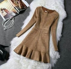 Winter Women Suede Dress Autumn Long Sleeve Pink Dresses 2017 Fashion New Party Dresses Womens Faux Suede Slim Vestidos Party Dresses For Women, Trendy Dresses, Simple Dresses, Plus Size Dresses, Cute Dresses, Fashion Dresses, Mini Dresses, Jw Mode, Winter Dress Outfits