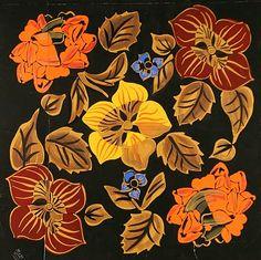 """""""fleurs et feuillages"""" 1915-1925 gouache"""