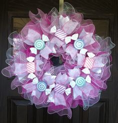 Large Handmade Baby Girl Gift Wreath With by WreathsByTrina White Wreath, Pink Wreath, Door Wreaths, Baby Wreaths, Cemetery Flowers, Vase Arrangements, Baby Girl Gifts, Handmade Baby, Deco Mesh