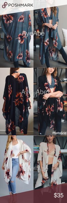"""Floral print kimono wrap cover up cardigan new New Floral print kimono wrap coverup , black, cream or charcoal. Beach Trendy boho chic. Fabric: 100% viscose . Measurement 38""""x46"""" Accessories Scarves & Wraps"""