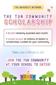 Join the TUN community at your school to enter! $2,000 randomly awarded each month / instant access to millions of dollars in scholarships curated for your community! College Packing, College Hacks, College Life, Scholarships For College, College Students, College Survival Guide, Millions Of Dollars, Instant Access, Study Tips