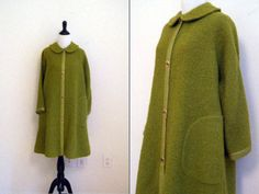 Vintage 1960's Bonnie Cashin for Sills Green Mohair Boucle Sweater Coat. $350.00, via Etsy.