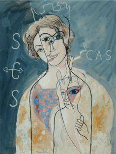 Francis PICABIA (1879-1953) La Vierge de Montserrat, ou Femme à la cigarette 1928 Gouache sur papier Sold 170 000€ with Artprecium #artauction