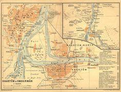 1914 City Plan of Khartoum and Omdurman Sudan by CarambasVintage, $16.00