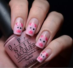 pig nails so cute! Fabulous Nails, Gorgeous Nails, Love Nails, How To Do Nails, Pretty Nails, Farm Animal Nails, Animal Nail Art, Pig Nails, Nails After Acrylics