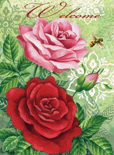 Toland Home Garden  Rose Welcome 12.5 x 18-Inch Decorative USA-Produced Garden Flag