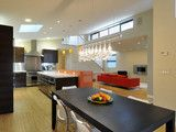 Color & Multiple materials in kitchen island bar. Ana Williamson Architect - Pope Street House.