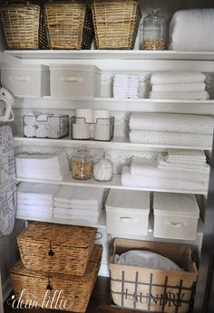Great bathroom storage solutions and organization ideas linen storage, closet storage Linen Closet Organization, Home Organisation, Bathroom Organization, Organization Ideas, Closet Storage Bins, Cupboard Storage, Storage Shelves, Linen Cupboard, Airing Cupboard