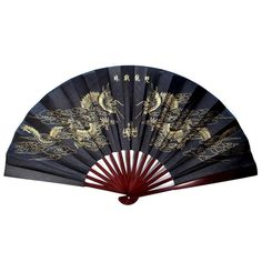 """DOUBLE DRAGON BLACK AND GOLD LARGE FAN 13"""" Folding Hand Wall NEW Asian Chinese"""