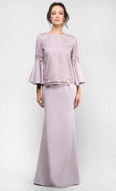 The Lace Kedah Kurung with Bell Sleeves in Light Taupe - Raya 2016 | FashionValet